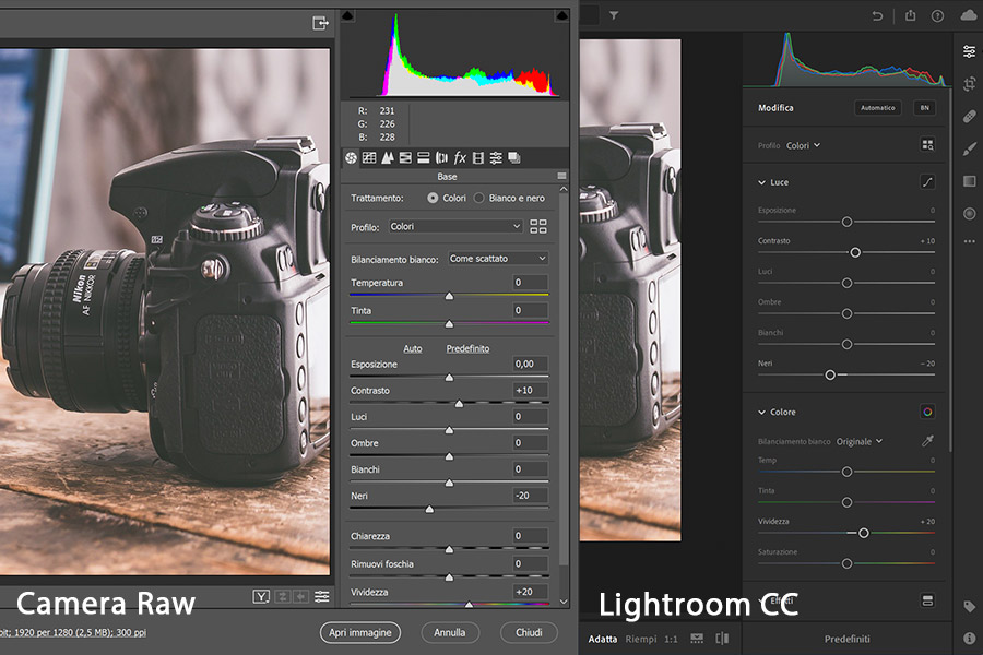 Adobe Camera RAW o Lightroom CC